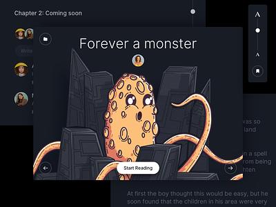Story app for Kids - WIP illustration project designer ux ui dark monster night kids osx mac app