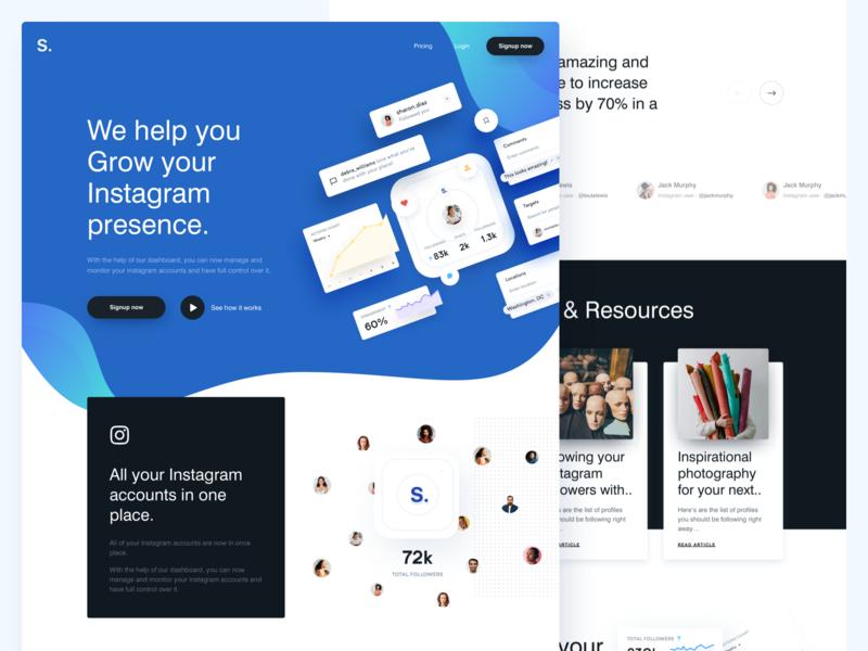 S. - Real Project agency designer social lander cards webdesign web blue landing website instagram