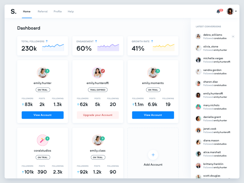 S. Dashboard - All accounts - Real Project dashboard ui ux interface designer purple instagram analytics chart cards white blue