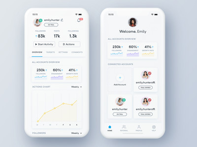 S. Mobile app - Real Project app mobile dashboard ui ux interface designer instagram analytics chart cards white