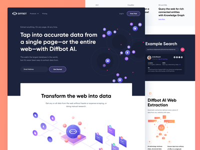 Diffbot Homepage - Real project illustration designer lite dark purple vibrant color website webpage landing diffbot