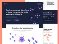 Diffbot Homepage - Real project illustration designer lite dark purple vibrant color website webpage landing diffbot