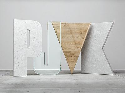 3D Initials typography octane c4d 3d