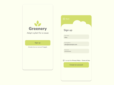 Greenery - Sign Up Page #DailyUI app icon logo typography ux vector branding ui illustration design