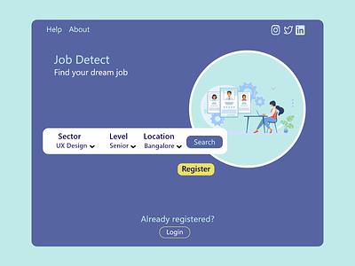 Job searching website landing page typography ui ux design