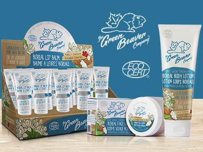 Green Beaver Boreal Line packaging organic natural winter boreal illustration shea butter labrador tea lotion lip balm face cream cream