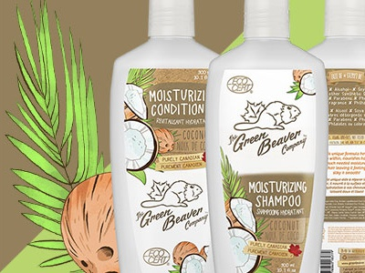 Green Beaver Haircare Line packaging organic coconut cranberry tea tree lavender unscented ecocert natural hair shampoo conditioner