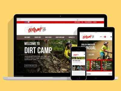 Dirtcamp Website Design camp bike camp montreal dirt camp mountain biking wordpress ecommerce