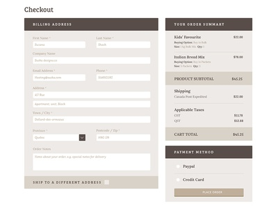 Wheatless Wonder - Checkout / Cart Page order summary billing bread bakery ecommerce checkout cart