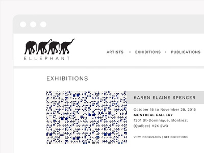 ELLEPHANT website artists exhibition elephant montreal art gallery minimal