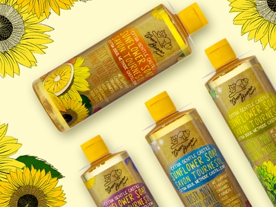 Green Beaver Castile Soap Packaging canadian packaging natural hand drawn sunflower organic