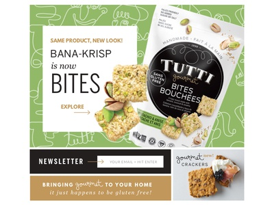 Tutti Gourmet Landing Page grid crackers cookies product landing page organic