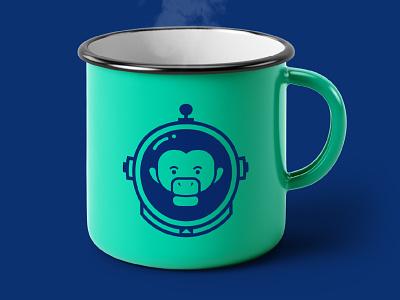 mono cromático agency monkey logo brand identity brand design branding cup logo design monkey logo logo mockup