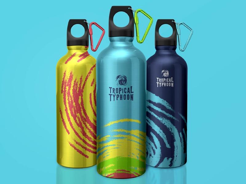 Young Lions Design 2019 - Tropical Typhoon Bottles branding logo mockup bottle