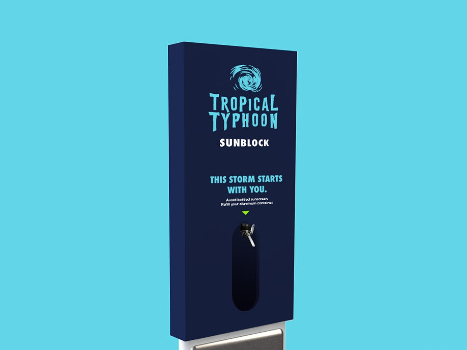 Sunscreen Dispenser Render for Young Lions - Tropical Typhoon logo mockup 3d branding