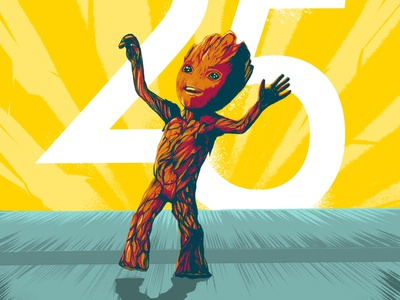 Baby Dancing Groot design ink illustration