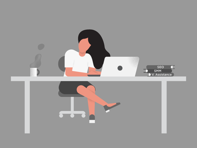 Sister's Working Desk illustration pph freelance office working girl hairs coffee virtual assistance seo laptop girl desk