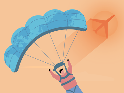 Sky Diving - [Another WIP] graphic  design illustration girraffe sunset airplane peace sun parachute diving