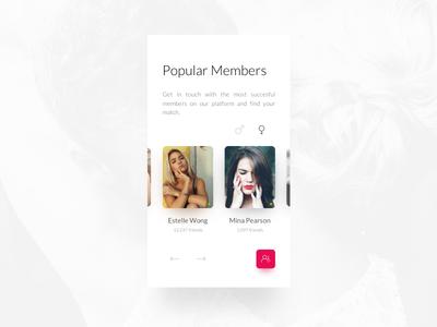 ND     Popular Members Card network social iphone theme love shadow carousel ui filters dating members account