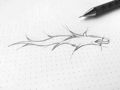 CIR     Logo Sketch style drawing dacian romanian branding pen paper dots symbol wolf dracones sketch logo