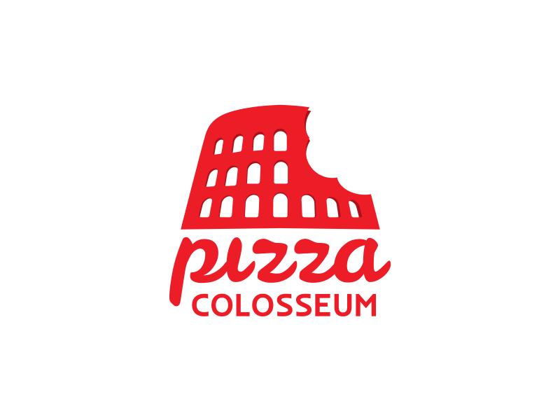 Pizza Colosseum Logo branding food bite symbol restaurant red logo colosseum pizza