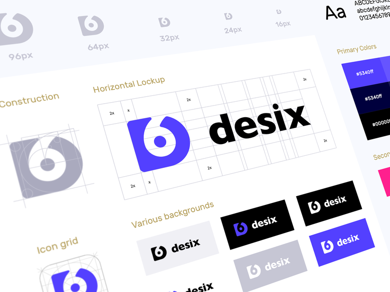 Desix Brand Guide icon design symbol construction symbol digital brand book working process brand guide identity product design negative space golden ratio stationary agency creative appicon color palette typography identity logo branding
