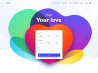 Love and gradients filters match ui colors heart landing page search seek find form illustration gradient love dating