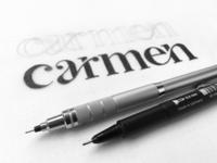 carmen - logo sketch wordmark identity makeup artist carmen sketch curve ligatures serif font letter serif makeup typography lettering logo branding