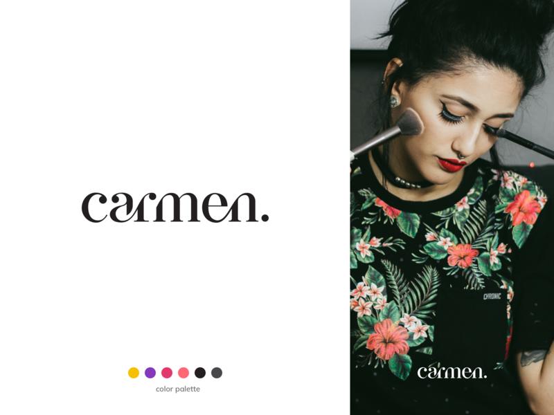 carmen - make-up artist typography type letters lettering makeup artist vector identity logotype makeup branding logo