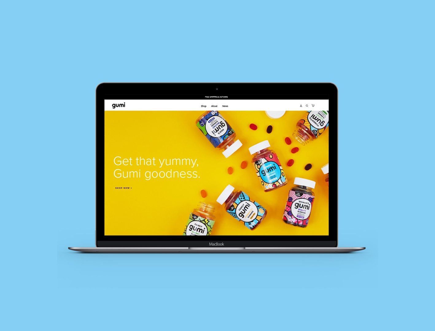 Gumi Vitamins Website home page website wellness packaging design graphic design branding logo