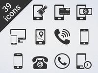 39 Phone Glyph Vector Icon