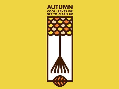 Autumn Leaves logo minimal fall season design threadless tshirt vector rake leaves leaf tree autumn