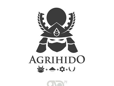 Agrihido (The Hero Of Agriculture) farmer wheat white black bushido sun engineering gear agriculture samurai design japanese branding logo graphic design