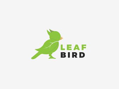 Leafbird leaf minimalism dual-meaning greenbird bird logo graphic design