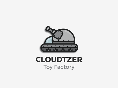 Cloudzer (Toy Factory Branc Concept) dual-meaning cartoon tank cloud game lineart toy branding logo graphic design
