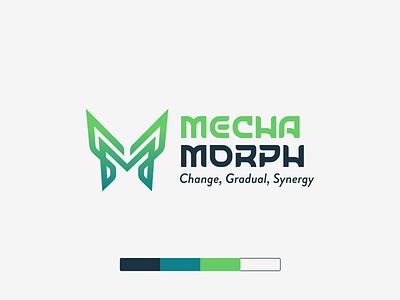 Mechamorph (Mechanic Morphosis) green gradient letterlogo game techno modernism butterfly branding logo graphic design