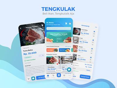 Tengkulak UI Design figma liquid wavy blue market fish branding graphic design ui