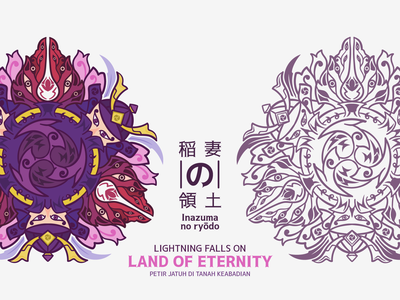 Vajrada Mandala (Inazuma Theme Mandala) element electro samurai design japanese pink purple impact genshin inazuma flatline lineart game mandala graphic design