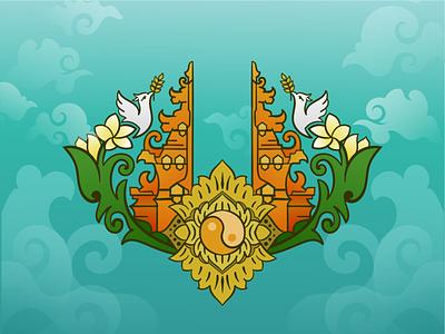 New Hope on The Land of God sky hope local balinese pigeon gate indoillustration cyan floral design yin  yang vector art adobeillustrator illustration graphic design