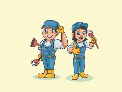 Plumber cartoon character mascot cute people logo branding illustration icon graphic design design character