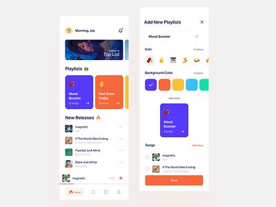 Music App Concept emoji iconic creating song playlist add new ui design mobile app music app dailyui