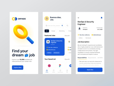 Orynde — Job Finder App 3d epilogue career illustration job finder search job mobile 3d illustration mobile app ui design daily ui dailyui