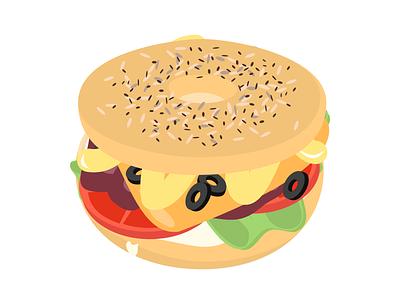 Bagel Factory illustration tomato burger food bagel
