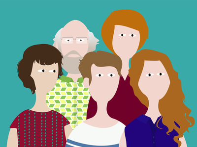 The Family portrait illustration group profile family people