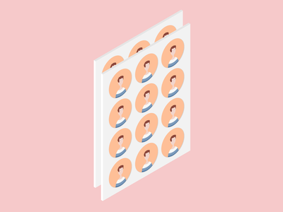 Stickers 3d isometric face itsme stickers illustration profile