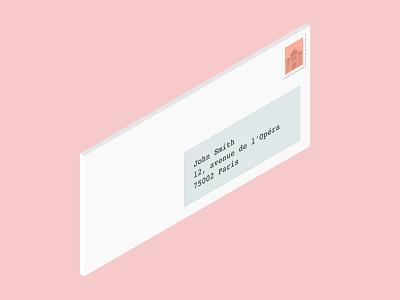 Letter illustration address stamp letter isometric 3d