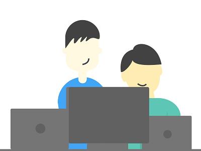 Developers flat developers code illustration desktop