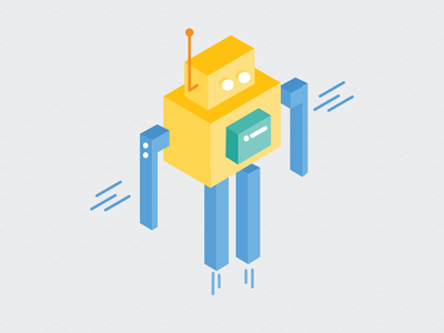 Robot isometric iso illustration chatbot robot
