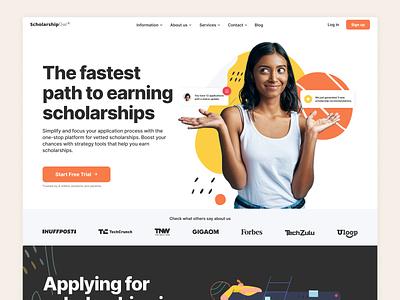 ScholarshipOwl - Landing Page & Style Guide illustration popup homepage girl website styleguide landing scholarships