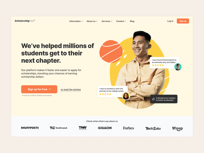 ScholarshipOwl - Testimonials page typography branding ui uiux scholarships homepage uxdesign ux illustration design